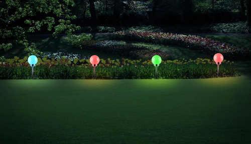 Farebné RGB solárne LED záhradné osvetlenie